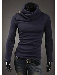 Men's High-Neck Sweaters , Cotton Blend Long Sleeve Casual Button Winter / Fall HI MAN