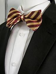 Men's Red Golden yellow Stripes Pre-tied Ajustable SilkBlend Wedding Dress SilkBlend Bow Tie