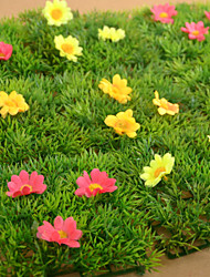 1PCS Artificial Lawn Simulation Grass with Yellow / Red Flowers Home / Garden Decor (12*12cm)