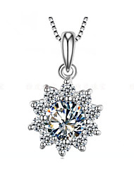 2CT Sunflower Pendant SONA Simulate Diamond Jewelry for Bridal 925 Silver Necklace Slide Pendant 18K White Gold Plated