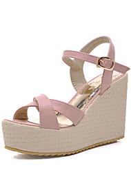 Women's Shoes Wedge Heel Wedges/Open Toe Sandals Office & Career/Dress Pink/Purple/White
