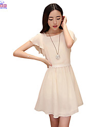 Women Summer Round Neck Chiffon Slim Short Sleeves Dresses Clothes