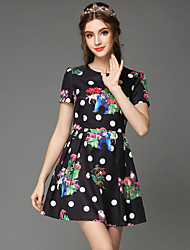Summer Women's Vintage Bead Sequins Print Party/Casual/Work/Plus Size Short Sleeve Dress