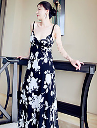 Women's Floral Black Dress , Sexy/Beach V Neck Sleeveless Beaded