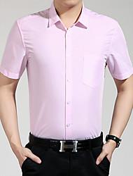 Men's Short Sleeve Shirt , Cotton Casual/Work/Formal/Sport Pure