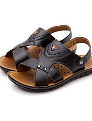 Men's Shoes Casual Leather Sandals Black/Khaki