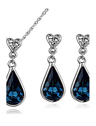 T&C Women's 18K White Gold Plated Blue Sapphire Austria Crystal Waterdrop Pendant Necklace Earrings Jewelry Sets