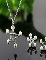 Lureme®Fashion Five-Pointed Star 925 Silver Pearl  Jewelry Set(Earrings &Necklace)