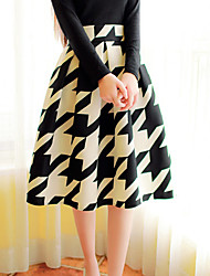 Women's Sexy Casual Print Cute Plus Sizes Micro Elastic Thin Knee-length Skirts (Knitwear)
