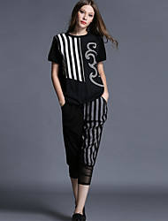 Large size women 2015 summer new stripe printing thin leisure suit Women's CLOTHING