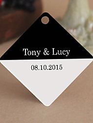 Personalized Rhombus Wedding Favor Tags - Black and White Design (Set of 36)