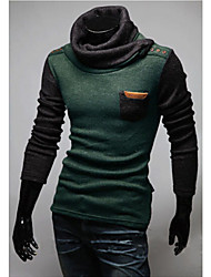 Men's High-Neck Sweaters , Cotton Blend Long Sleeve Casual Hollow Out Winter / Fall WHAT LEES