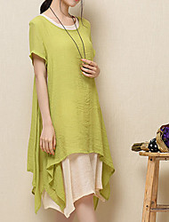 Women's Round Layered Dresses , Linen Vintage/Casual Short Sleeve SASA