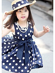 Girl's  Fashion Leisure Stripe Sleeveless Bowknot Dress