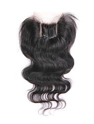 4x4 Brazilian Human Virgin Hair Light Brown Base Color 3 Way Part Top Closure Body Wave