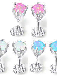 cadeau pour la mère pétillante feu bleu rose opale blanc perle 925 boucles d'oreilles en argent pour la noce quotidiennes 1pairs de