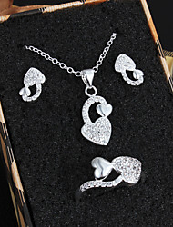 Fabulous Platinum Silver Plated With Real Zircon Wedding Jewelry Set (Including Earrings,Necklace and Ring)