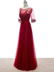Formal Evening Dress - Burgundy Petite Sheath/Column Bateau Floor-length Lace / Tulle