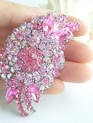 Women Accessories Silver-tone Pink Rhinestone Crystal Flower Brooch Wedding Deco Brooch Bouquet Wedding Jewelry