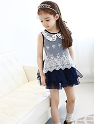 Girl's Summer Floral Print Sleeveless Dresses (Chiffon/Mesh)