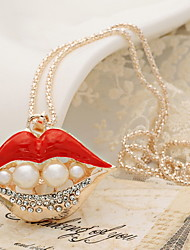 Sexy Lips Pendant Sweater Chain