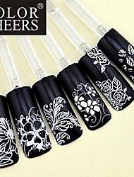 1x 108 PC 3D fleur blanche autocollants nail art