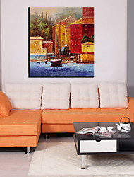 Oil Paintings One Panel Modern Landscape Architecture Hand-painted Canvas Ready to Hang