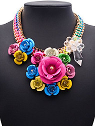Eternity European And American Big Name Short Multicolor Flower Necklace