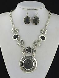 toonykelly® prata da antiguidade do vintage rodada lava negro rocha vulcão (brinco e colar) Conjunto de jóias
