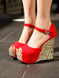 Women's Shoes  Wedge Heel Wedges Sandals Party & Evening/Dress Black/Blue/Red