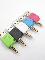 Protable 3.5mm Jack to USB 2.0 Adapter 2 in 1 Charging Adapter for iPod 2th Shuffle