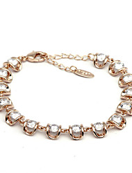 HKTC Sparkling Jewelry 18k Rose Gold Plated Small Pieces Clear Simulated Diamond Rhinestones Strand Bracelet