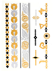 4PCS New Flash Tattoo Gold Tattoo Metallic Tattoo Taty Tatouage Temporary Tattoo Sticker Metal Tatoo Fake Tatto