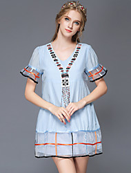 AOFULI Women Clothing Vintage Embroidery Ethnic Patchwork Casual/Party/Work/Plus Size Loose Waist Short Sleeve Dress