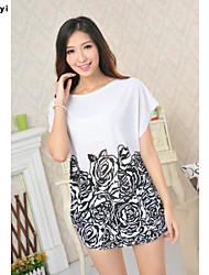 Mulheres Camiseta Casual Simples Verão,Floral / Estampado Branco Seda Decote Redondo Manga Curta Fina