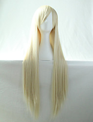 Cos Anime Bright Colored Wigs Cream Long  Straight  Hair Wig 80 cm