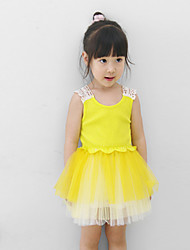 Girl's Cotton/Polyester Medium Sweet Back Hook Flower Sleeveless Dress