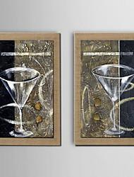 peinture à l'huile décoration toujours la main la vie peint lin naturel avec la main tendue encadrée - ensemble de 2