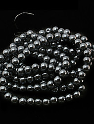 Beadia 3 Str(approx 430pcs) Glass Beads 6mm Round Imitation Pearl Beads Black Color DIY Spacer Loose Beads