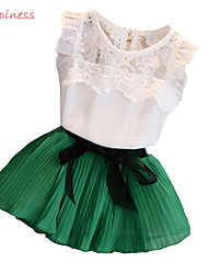 Girl's Summer/Spring/Fall Micro-elastic Medium Short Sleeve Dresses (Chiffon/Cotton/Lace/Polyester)