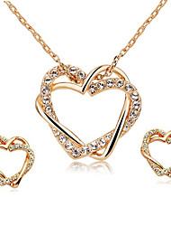 T&C Women's Love Heart Designer CZ Diamond Pendant Jewelry 18K Rose Gold Plated Wedding Necklace Earrings Sets