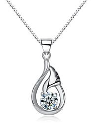 jazlyn® donna platinato 925 ali sterling goccia d'argento del pendente della collana sogno zirconi per il regalo