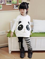 Girl's Cotton/Polyester Leisure Panda/Stripe Long Sleeve Clothing Set