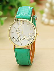 Mulheres Relógio de Moda Quartz Couro Banda Relógio de Pulso Preta / Branco / Verde