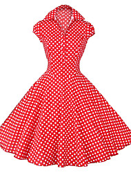 Maggie Tang Women's White/Black/Blue 50s Vintage Polka Dots Swing Midi Dress
