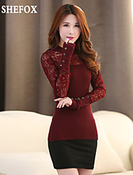 Women's Casual/Lace/Work Micro-elastic Medium Long Sleeve Pullover (Lace/Knitwear) SF7A20