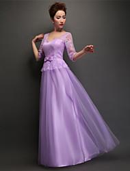 Floor-length Tulle Bridesmaid Dress - Lilac Sheath/Column V-neck
