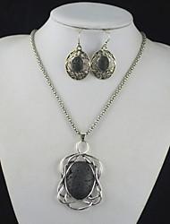 toonykelly® prata da antiguidade do vintage vulcão lava preta oval rocha (brinco e colar) Conjunto de jóias