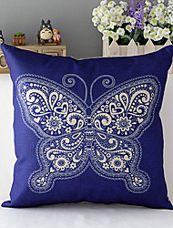 Country Style Porcelain Butterfly Patterned Cotton/Linen Decorative Pillow Cover