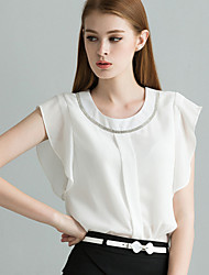 Women's Flounce Diamond Short Sleeved Chiffon Shirt